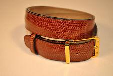 "Cognac Genuine Lizard Belt  38"" Length"