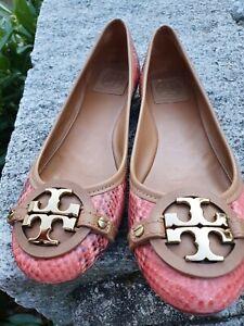 💛TORY BURCH Damen Schuhe  BALLERINAS💛BRAUN ROT gold 39,5/40 US 9 REPITLMUSTER