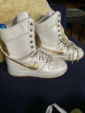 Nike Air White gold Basketball Boots UK 5.5 USA 8 Retro vintage Boots