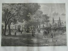 1a)- lithographie ancienne -Flandin. XIXe - VUE DE KAZBIN (1-a ) PERSE