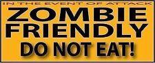 Zombie Friendly Walking Dead do not eat attack bumper sticker undead Zombies