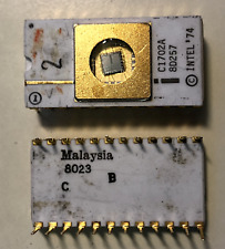 Vintage Intel C1702A, 2048-Bit (256 x 8) EPROM - Ceramic white with gold RARE