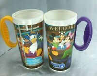 2 Walt Disney Parks/World Rapid Fill Hot/Cold Refillable Souvenir Mug/Cups FS