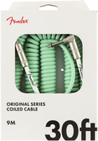 Fender Coiled Guitar/Instrument Cable, SURF GREEN, Straight to Right-Angle 30'ft