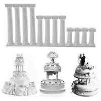 Plastic Pillars Support Wedding Tiered Cake Rod White 4pc Grecian Pillars Decor