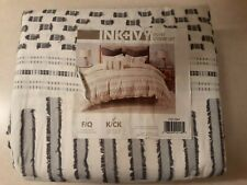 Ink+Ivy Rhea Cotton Jacquard Duvet Cover Mini Set Ivory/Charcoal (King/Cal King)