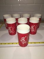 """Set 8 Thermo Serv 5"""" Insulated Tumblers Glasses Red White Clown Seal 8 oz CIRCUS"""