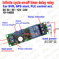 DC 5V 9V 12V 24V Infinite Cycle Delay Timer Time Relay ON OFF Switch Loop Module