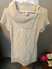 No Boundaries Womens Small S 3-5 Short Sleeve Cable Knit Sweater Beige Acrylic