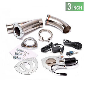 """3"""" 76mm Remote Electric Exhaust CATBACK Downpipe Cutout E-cut out Valve System"""