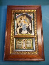 Antique Religious Prayer Shadow Box Chalkware The Holy Rosary Spindle Scrolls