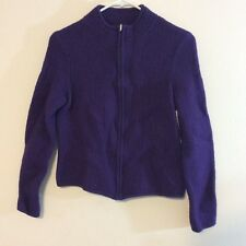 Talbots Petites womens jacket size M purple zipper front long sleeve 100% wool