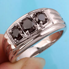 Men's Rhodium Finish 925 Sterling Silver Ring Size 10 with 3-stone Black CZ