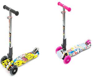 3 Wheeled Scooter Kids Tri Folding Tilt To Turn Adjustable Push Ride Boys Girls