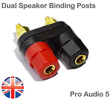 Dual Gold Speaker Binding Posts Terminal - 4mm Sockets for Banana Plugs - 2 Way