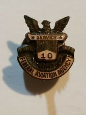 Usa Us Army Federal Aviation Agency Badge Pin Military 10 Year Service Air Force
