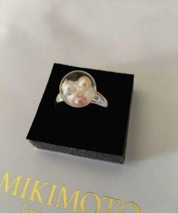 Mikimoto Pearl Ring SILVER SIZE 5.5 Rhodium