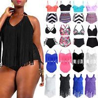 Women Fringe Tassel Push Up Bikini Padded Bra Bikini Swimsuit Swimwear Plus Size