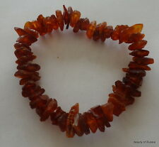 Stretch  cognac  raw unpolished     Baltic Amber Bracelet  #9 raw