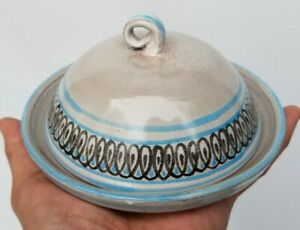 """Vintage Ceramic Butter Round dish with lid - signed """"eve 98"""" - free ship!"""