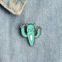 Alloy Lovely Creative Cactus Cat Pattern Cartoon Badge Pin Brooch Kids Gift