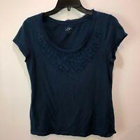 Ann Taylor LOFT Women Medium Blue Short Sleeve Round Neck Blouse Top Shirt Tee M