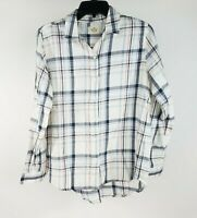 Marine Layer Arden Button Down Shirt Medium White Blue Plaid Long Sleeve Top New