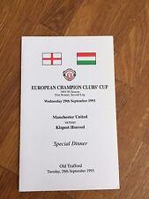 RARE 1993/94  Manchester United V Honved   European Cup Official Dinner Menu