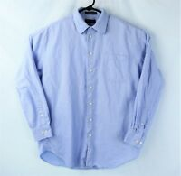 Nautica Blue Checker Cotton Button Down Long Sleeve Fitted Shirt Mens 16 34/35