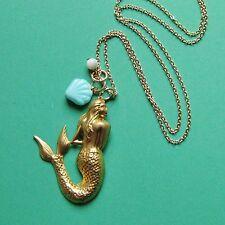 VINTAGE BRASS MERMAID NECKLACE SHELL OCEAN SEA CHARM CORAL AQUA GOLD AQUATIC