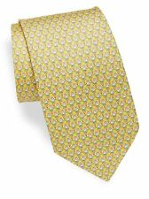NWT Men's Authentic Salvatore Ferragamo Frog & Balloon Yellow Silk Tie $190