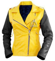 New Woman Fashion Yellow Black Quilted Flash Sheep Skin Soft Leather Jacket