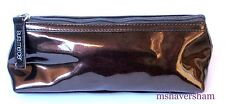 Laura Mercier Makeup Bag Cosmetic Travel Case Brown Faux Patent Leather Padded