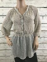 Mossimo Womens Size Small Beige Floral Sheer Blouse Top 3/4 Sleeve Button Front