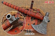 HUNTEX New Custom Hand-Forged Damascus 450 mm Long Walnut Wood British Trade Axe