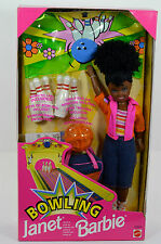 NIB-1998-BOWLING PARTY JANET AA-AFRICAN AMERICAN-BALL & PINS-INT'L BARBIE-STACIE