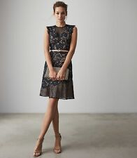 Reiss June Navy Lace Embroidered Floral Mesh Cocktail Party Races Dress 4 6 8