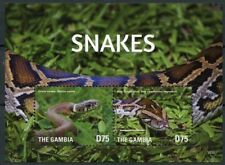 Grass Snake Boa Constrictor, Snakes, Reptiles, Gambia 2015 MNH MS (Q30)