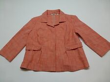 Amber Sun Womens Size M Pink & White Weave 3/4 Sleeve Jacket Great Condition