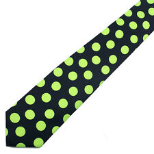 NEW Neon Green Polka Dot Black Tie NeckTie