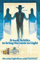 Rare Schlitz Light Cowboy Gusto Door Advertising Decal Beer New NOS 1975