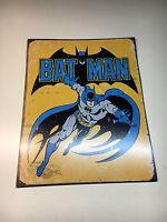 Old Vtg DC Comics BATMAN Dark Knight Superhero Tin Metal Sign