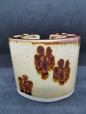 Toothbrush Toothpaste Holder Brown Drip Glaze Vintage Snug Hill Oregon Pottery
