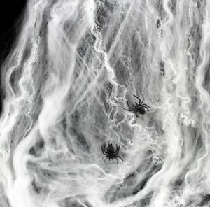 Halloween Spider Web Fake 2Spiders Stretchable Cobweb Spooky Scene Decoration
