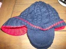 John Lewis Boys Navy Blue Fleece Lined Peaked Knittted Hat Age 12-24 Months