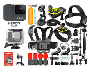 GoPro HERO 7 Silver Edition Touch-Screen Camera + 40 PCS Sports Accessory Bundle