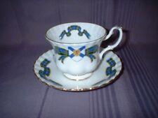 VINTAGE ROYAL ALBERT CUP & SAUCER ~ NOVA SCOTIA CANADA BLUE GREEN TARTAN  ~ VGC