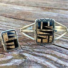 Black Onyx And Agate Cuff And Ring Set | Native American Jewelry | Onyx Jewelry