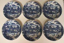 6 Swan Inn Broadhurst Staffordshire England Ironstone Blue Soup Cereal Bowls