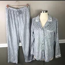 Eileen West M 2pc Fleece Pajama Set Gray